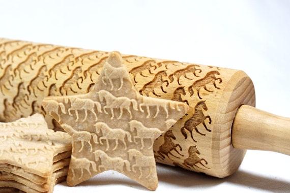 Chevaux - en relief, gravé de rouleau à pâtisserie pour les cookies