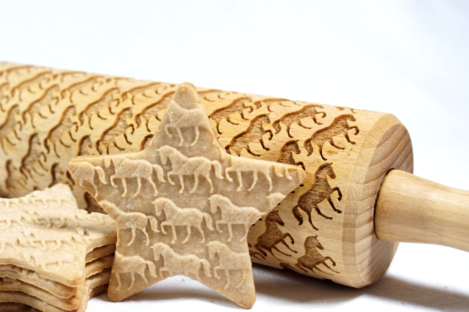 Rolling pin ornament - Horses Embossed Engraved Rolling Pin For Cookies