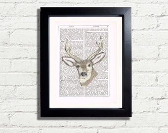 Stags Head Woodland Deer Wild Animal Wall Art Print INSTANT DIGITAL DOWNLOAD A4 Printable Pdf Jpeg Image  Art Print Wall Hanging  Ideal Gift