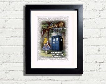 Alice In Wonderland Cheshire Cat & Doctor Who Tardis Wall Decor INSTANT DIGITAL DOWNLOAD A4 Printable Pdf Jpeg Image Wall Artwork Gift Idea