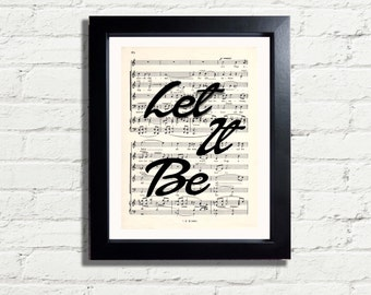 Let It Be The BEATLES Inspirational Song Lyrics Wall Art Instant DIGITAL DOWNLOAD A4 Printable Artwork Wall Hanging Home Decor Gift Idea