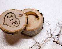 Wedding Ring Bearer Rustic Decor Personalized Birch Ring Box