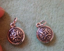 sterling silver Chinese lucky coin charm pendant 925 stamped antique tone UK 3D