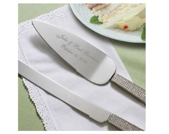 Glitter Galore Personalized Wedding Cake Server and Knife, Cake Server & Knife Set, Personalized Cake Server