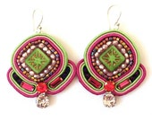Embroidered Earring, Pink & Green Soutache Dangle, Artistic Jewelry, Fabric Jewelry, Couture Embroidery, Colorful Bijoux, Beaded Lightweight