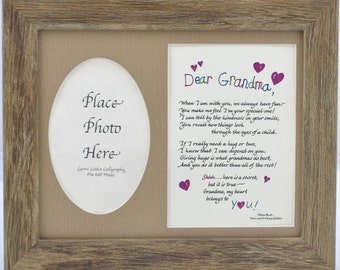 Dear Grandma Poem and Picture Frame - grandmother gift - personalized an option - choose your style (frame and mat)
