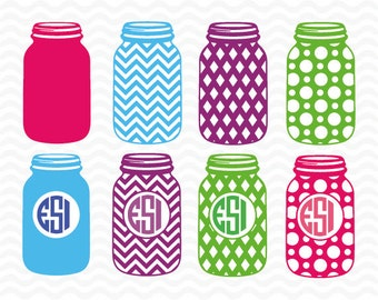 Mason Jar svg, Mason Jar Monogram svg , SVG, DXF,& EPS, svg cutting files for us with Silhouette Cameo and Cricut Design Space.