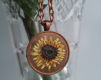 Hand painted sunflower penny coin necklace