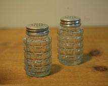 Vintage 50s diner salt and pepper shakers - by Libbey Glass - 1950's Diner Style Antique Vintage