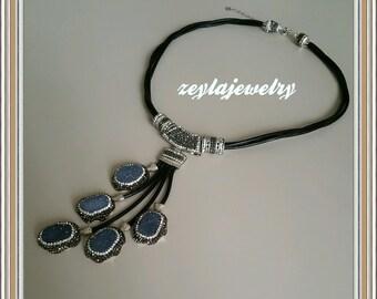 Handmade Druzy Gemstone Grape Necklace Turkish Jewelry