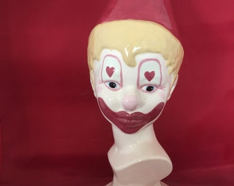 Hand painted Ceramic Clown Bust