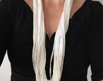 White scarf necklace. Infinity necklace. Cotton scarf. Beaded scarf necklace.