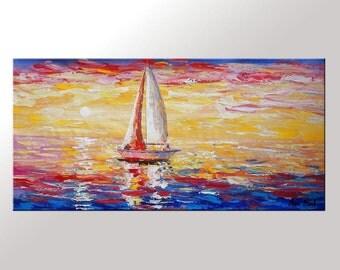 Sail Boat Painting, Original Art, Wall Art, Large Painting, Canvas Painting, Oil Painting, Abstract Painting, Seascape Painting, Large Art
