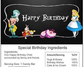 Alice in Wonderland birthday Candy Bar Wrapper