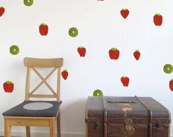 Strawberries and kiwis - fruit wall decals