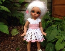 Littlefee / YOSD / TINY Bjd White and pink crochet  dress