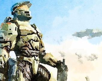 Halo series (21) digital Watercolor Poster Print Art