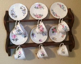 Vintage Tea Cups with Holder