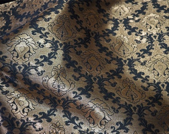 Black and Golden Brocade Fabric - Art Silk Fabric with Golden Jari Motifs - Wedding Dress Fabric - Banarasi Art Silk Fabric by the  Yard