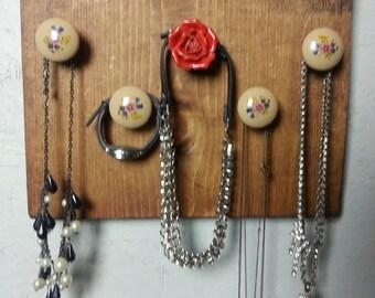 wood 5 knobs necklace/bracelet organizer