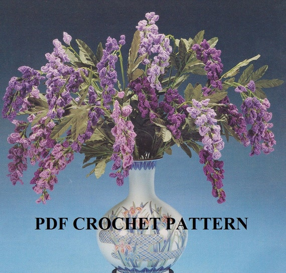 Crochet Wisteria Flower Pattern : Crochet Wisteria Flowers Floral Arrangement Pattern # ...