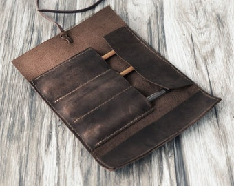 Personalized Leather Pencil Case Roll, Tool Roll, Brush Roll, Art Wrap, Makeup Roll, Pencil Organizer, Dopp kit, Distressed Brown