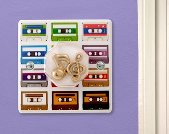 Decorative Music Notes Retro Cassettes Light Switch Handmade by Candy Queen Designs, 80's Cassettes Gift, Retro Cassettes, Mix Tapes,