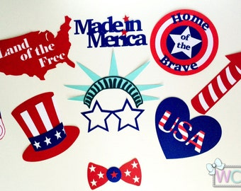 Fourth of July / Memorial Day / Veteran's Day / Patriotic Themed Photo Booth Props | 4th of July | USA | United States of America |