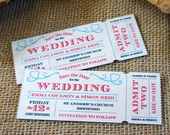 """Wooden  """"Save the Date"""" Vintage Ticket Magnet"""
