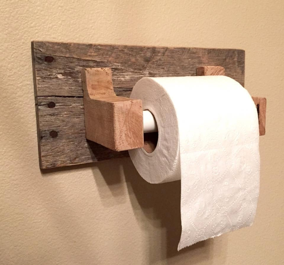 Rustic wood pallet furniture toilet paper holder reclaimed Wood toilet paper holders