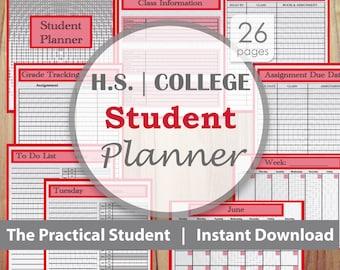Student Planner, College Planner, High School Planner, Red