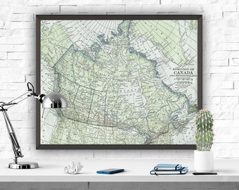 Canada Map Art Print Map Printable Art Old Map Poster Blue Decor Boys Room Decor Map Printable Canada Home Decor Map Poster Instant Download