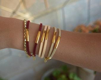 Simple golden tube Bracelet