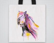 Cool Tote Bag - Horse Illustration - Illustrated Tote Bag - Printed Totes - Affordable Tote Bags