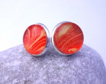 Orange Stripe Stud Earrings