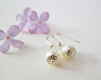 Silver Pearl Earrings, Sterling Silver Earrings, Wedding Earrings