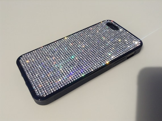 iPhone 5 / 5s / 5se Clear Diamond Rhinestone Crystals on Black Rubber Case. Velvet/Silk Pouch Bag Included, Genuine Rangsee Crystal Cases.
