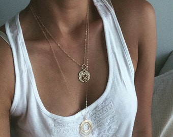"Abstract Circle Necklace || 21.5"" Gold Fill Chain 