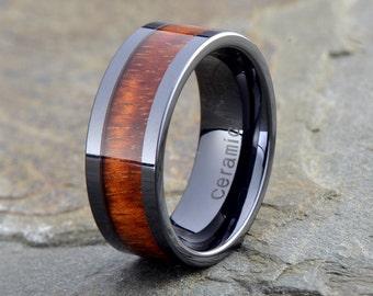 Wooden Ceramic Wedding Band, Mens Ceramic Ring, Ceramic Wood Inlay Ring, 9mm, Wood Inlay Ceramic Band, Mens Ceramic Band, Anniversary Ring