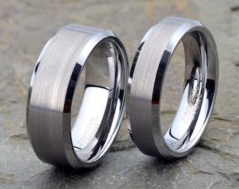 Tungsten wedding Set, Beveled Edge His Hers 8mm 6mm, Custom Engraved, tungsten wedding band, mens wedding band, mens tungsten wedding band