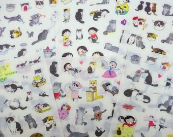 6 pages Kawaii girl & cat stickers, cute Korean stickers kawaii girl stickers funny cat stickers cat emoticon stickers cute planner stickers