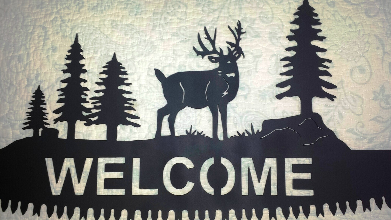 Custom Buck Deer Silhouette Welcome Cut Out On