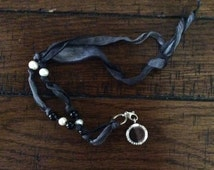 Stainless Steel Memory Locket on Hand Dyed Silk Ribbon, Sterling Silver Ring, Freshwater pearl and Onyx