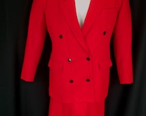 Vintage Professional Work Career Office Business Red Wool Double Breasted Suit Size 12 Made in USA