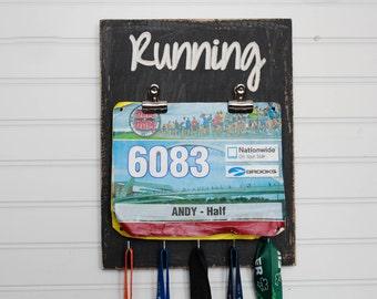 Carved Race Medal Holder - Running Medal Holder- Bib Holder