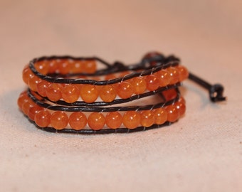 Orange and Brown Wrap Bracelet