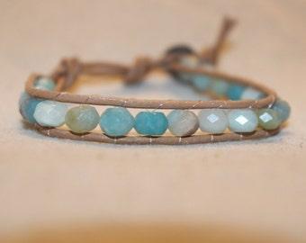 Faceted Amazonite Wrap Bracelet