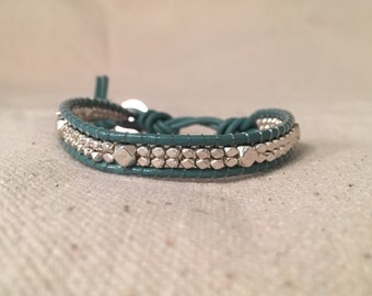 Silver and Turquoise Wrap Bracelet