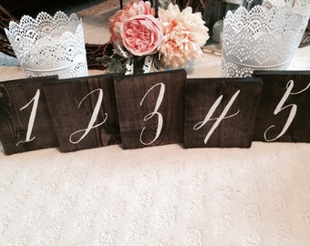 Rustic Wood Wedding Table Number Signs Hand Painted