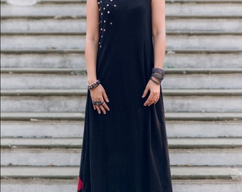 Black Maxi dress with patchwork detailing